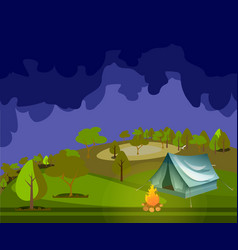 camping in forest at night vector image vector image