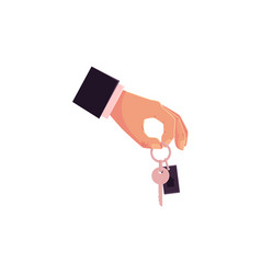 cartoon male hand giving holding car keys vector image