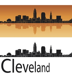 Cleveland skyline in orange background vector image