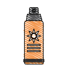 Color crayon stripe image sun block spray bottle vector