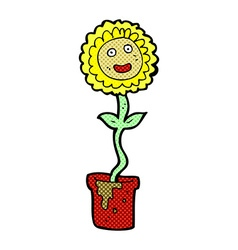 comic cartoon flower with face vector image vector image