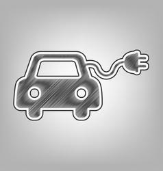 Eco electric car sign pencil sketch vector