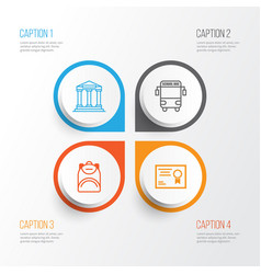 Education icons set collection of college vector