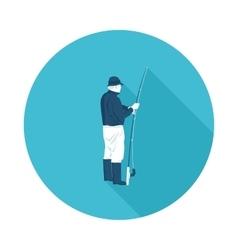 Flat icon fisherman vector