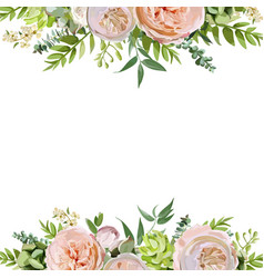 Floral design square card design soft pink peach vector