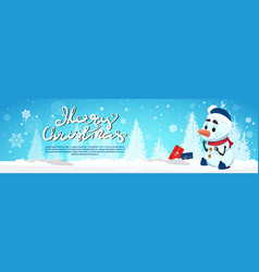 happy new year greeting card with cute snowman vector image