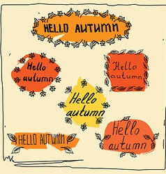 Hello autumn badge sketch vector