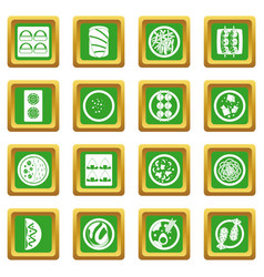 Japan food icons set green vector