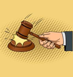 judge hammer pop art vector image