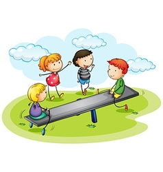 Kids playing seesaw in the park vector image