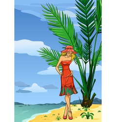 Lady in hat on the beach vector image