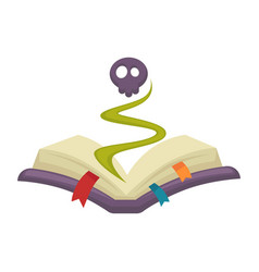 Mysterious cartoon book with skull appeared from vector