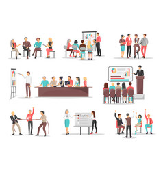 Office team building concepts set vector
