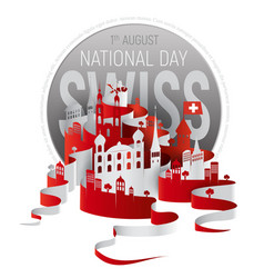 poster or banner to the switzerland national day vector image vector image