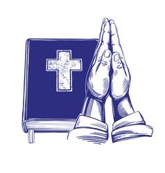 Praying hands bible gospel the doctrine of vector
