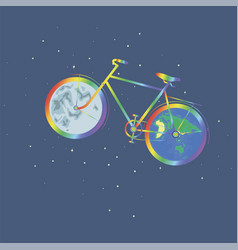 Rainbow bike one wheel planet earth another wheel vector