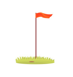 red golf flag golf sport equipment cartoon vector image