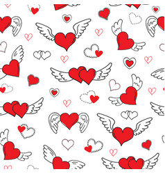 Romantic hearts seamless pattern valentines day vector