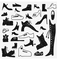 shoes doodles set vector image
