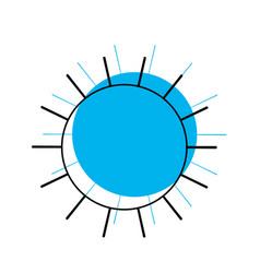 Sun icon in blue watercolor silhouette vector