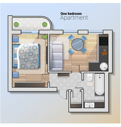 Top view of modern one bedroom vector