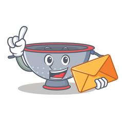 With envelope colander utensil character cartoon vector