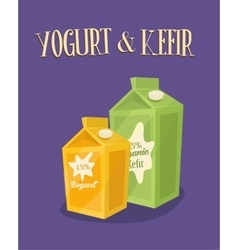 Dairy banner with kefir and yoghurt packages vector
