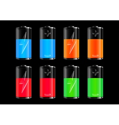 Colorful batteries collection vector