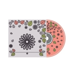 silhouette cd cover with floral decoration vector image