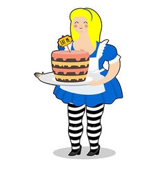 Alice in wonderland cake eat me fat and old vector