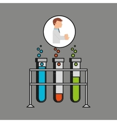 Scientist worker research test tube on rack design vector