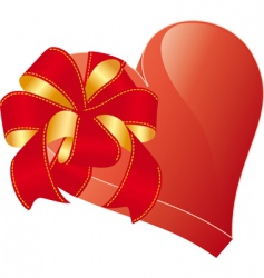 Valentine heart with bow vector