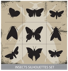 Nature butterflies silhouettes sign set vector