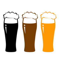 Colorful beer glasses with foam vector