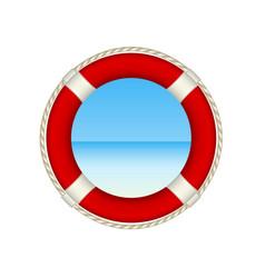 Red life buoy as beach concept vector