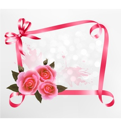 Pink roses ribbons background vector