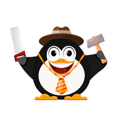 Merry penguin in a hat with a hammer and a saw vector