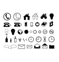 set of black icons on white background vector image