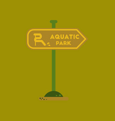 Flat icon on background sign aquatic park vector