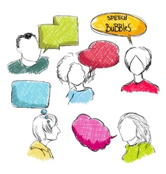 Doodle speech bubbles with men and women vector