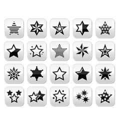 Stars black buttons with reflection isolated on wh vector image