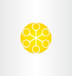 Magnifiers in circle yellow sun icon vector