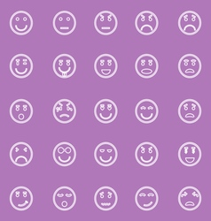 Circle face line icons on violet background vector