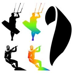 kiteboarder set vector image