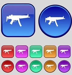Machine gun icon sign a set of twelve vintage vector