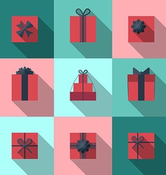 Flat gift box icon with long shadow vector