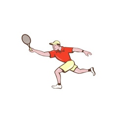 Tennis player racquet forehand cartoon vector