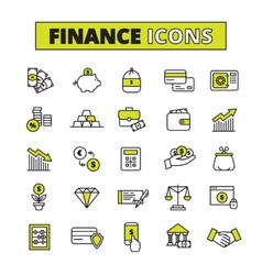Finance icons set line vector