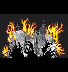 Skyscrappers suburb catching fire vector