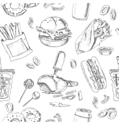 Fast food seamless pattern sketches vintage vector